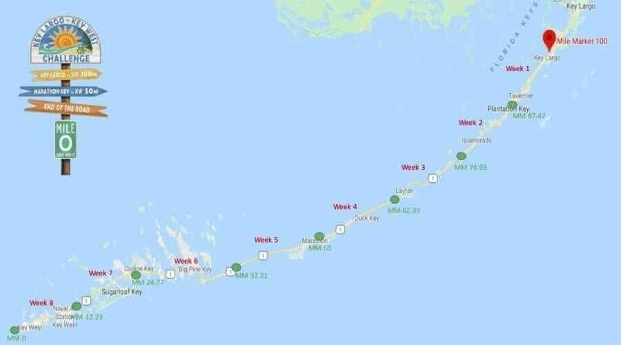 map of Key Largo to Key West